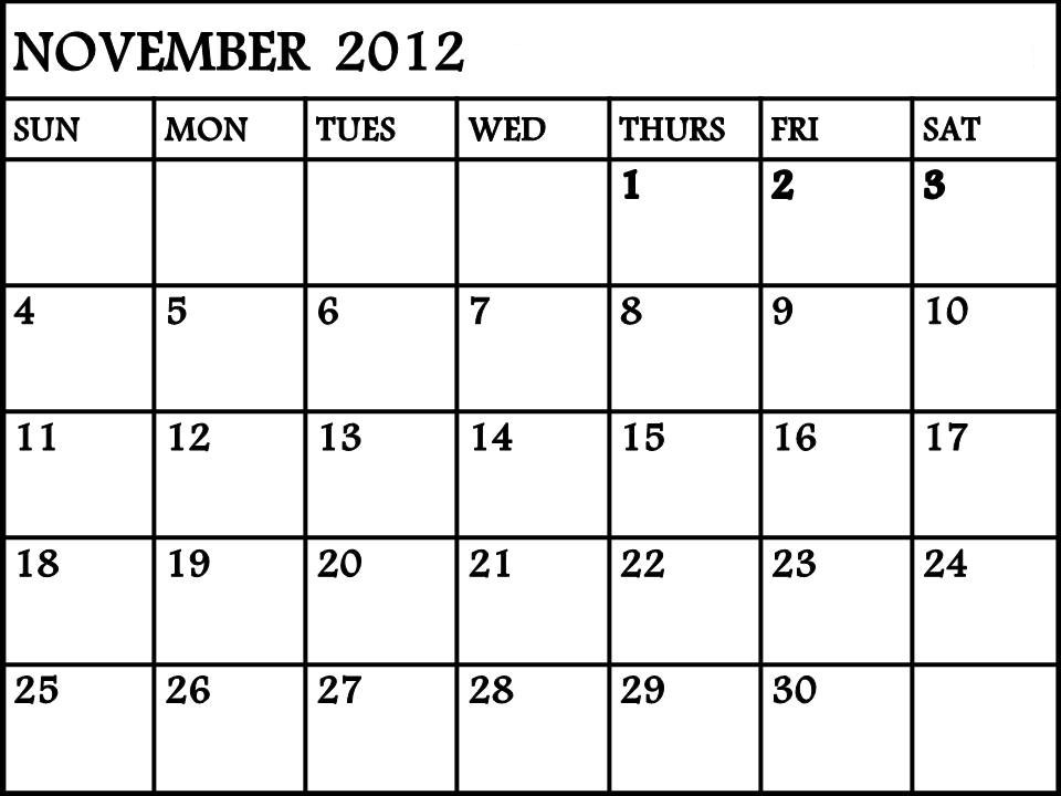 November 2012 Calendar   The Mind & Musings of RicoRacer Flux
